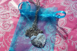Mother and Daughter two hearts necklaces