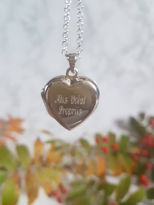 engraved locket Alis Volat Propriis