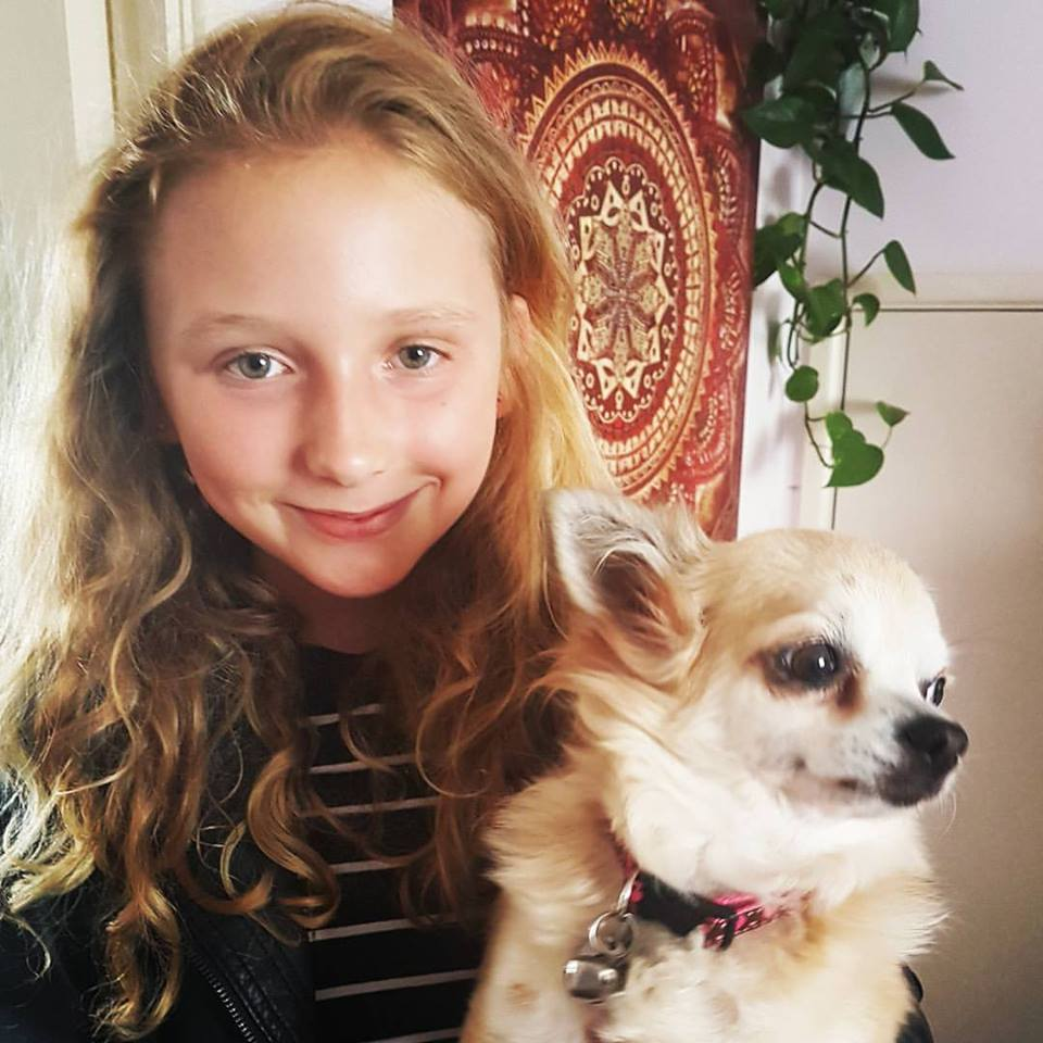 girl and her chihuahua