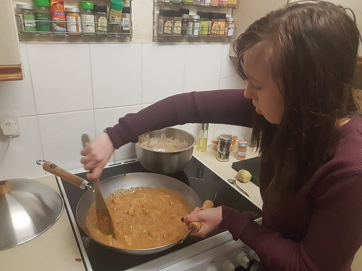Soph making butter chicken