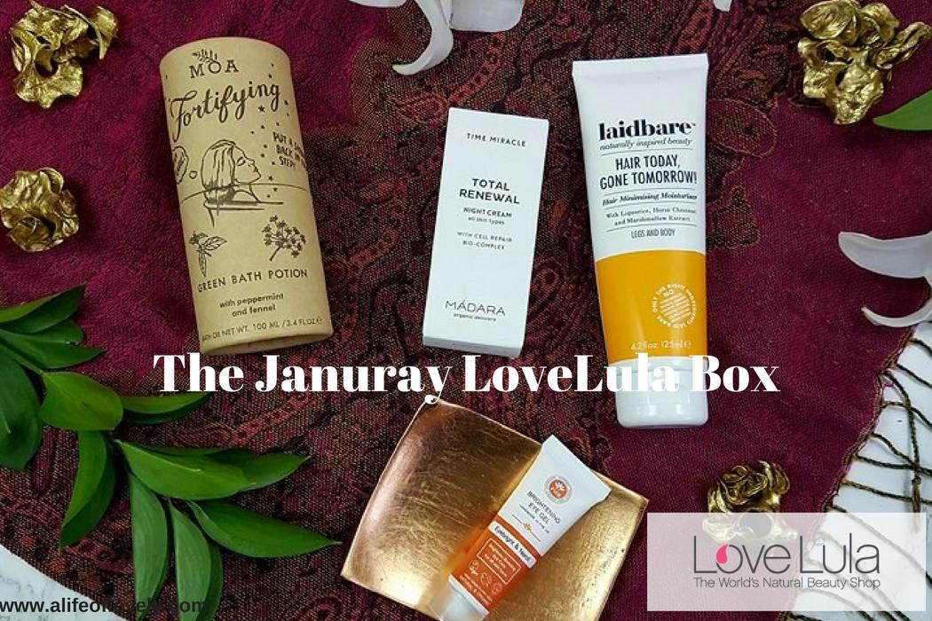 The January LoveLula box - green beauty subscription