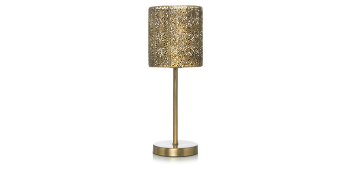 Moroccan brass toned stick lamp