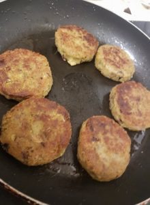 frying falafels