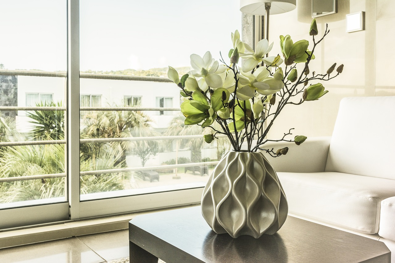 vase on a table