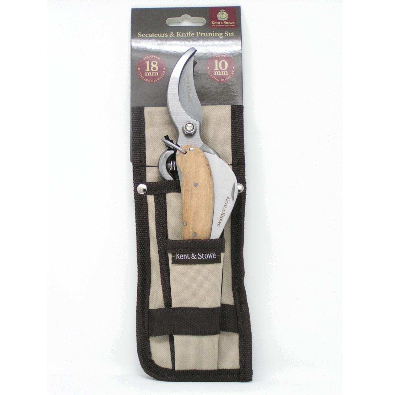 Kent & Stowe Secateurs & Knife Pruning Set