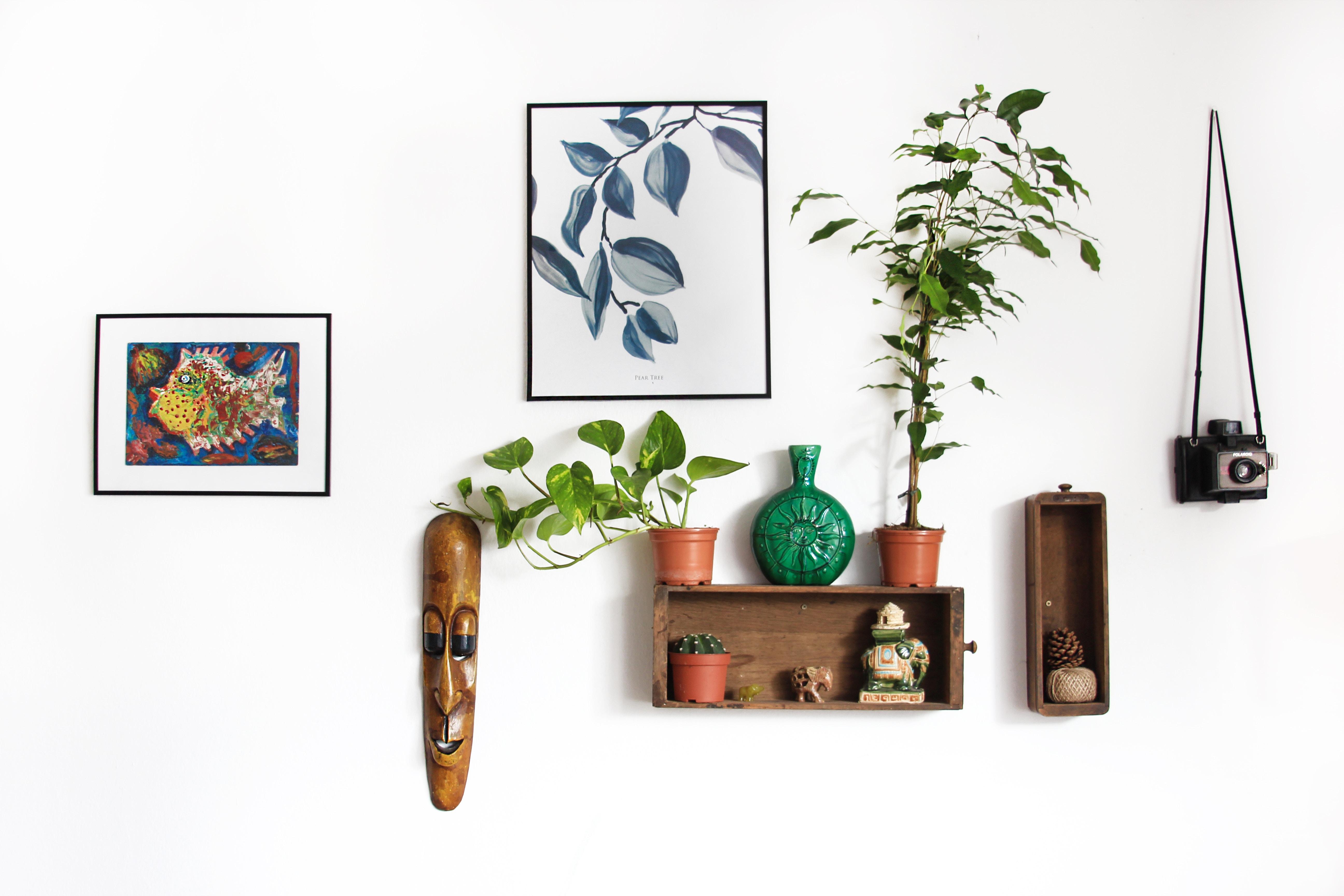 artwork and shelves