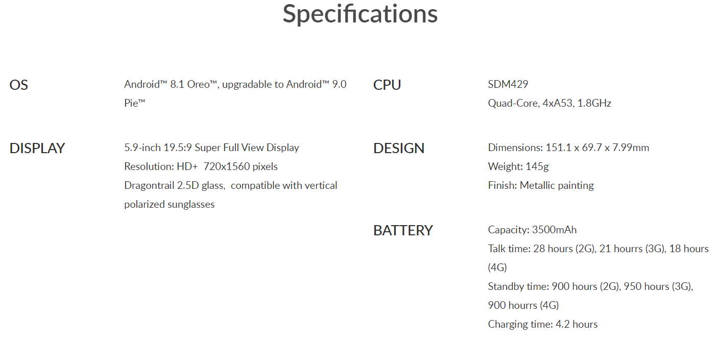 Alcatel 3L specifications