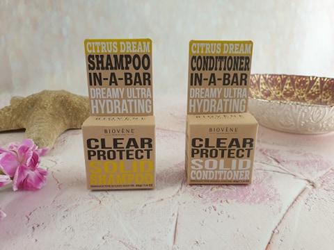 Biovène Barcelona Clear Protect - Citrus Dream Shampoo In-A-Bar, Biovène Barcelona Clear Protect - Citrus Dream Conditioner In-A-Bar