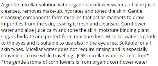 JOIK Organic Micellar Cleansing Water review