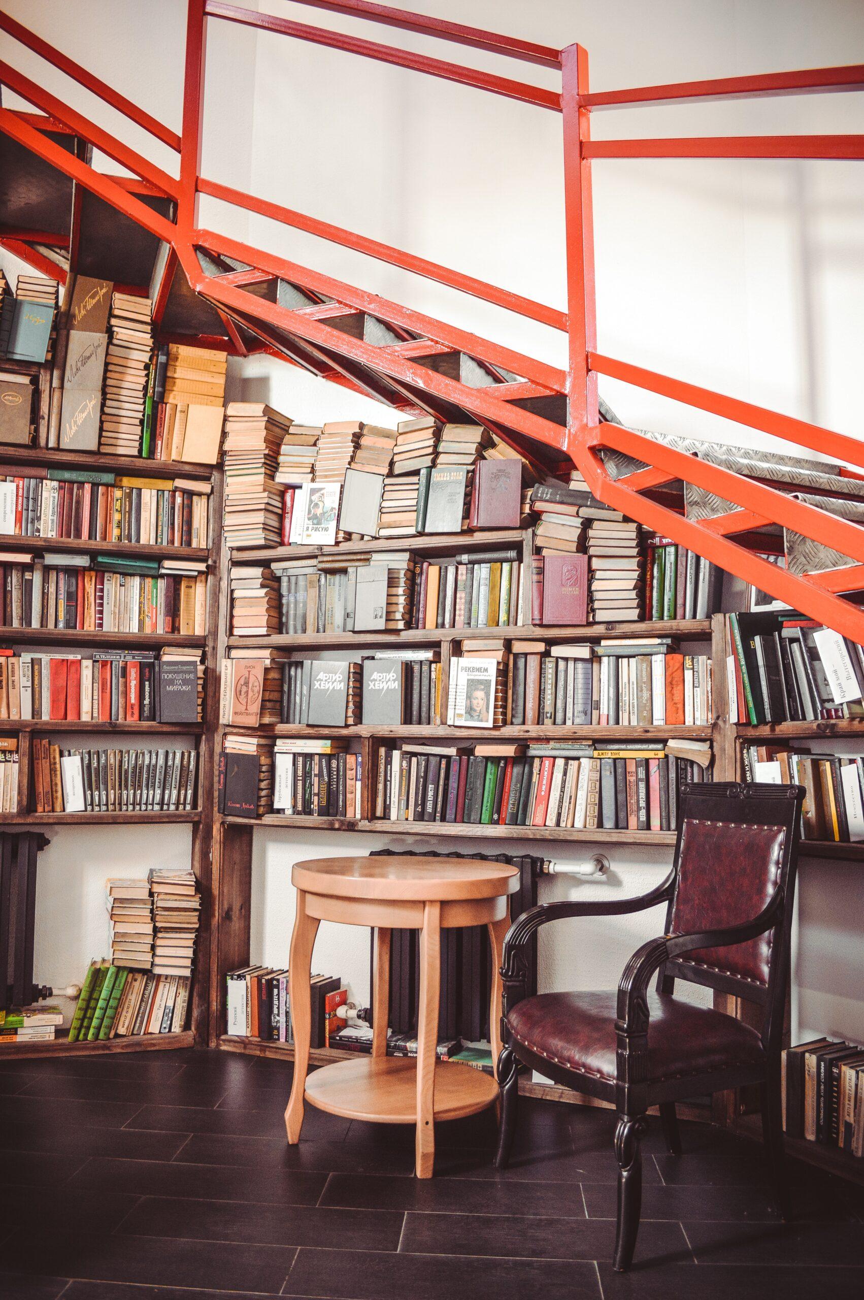 book case under stairs