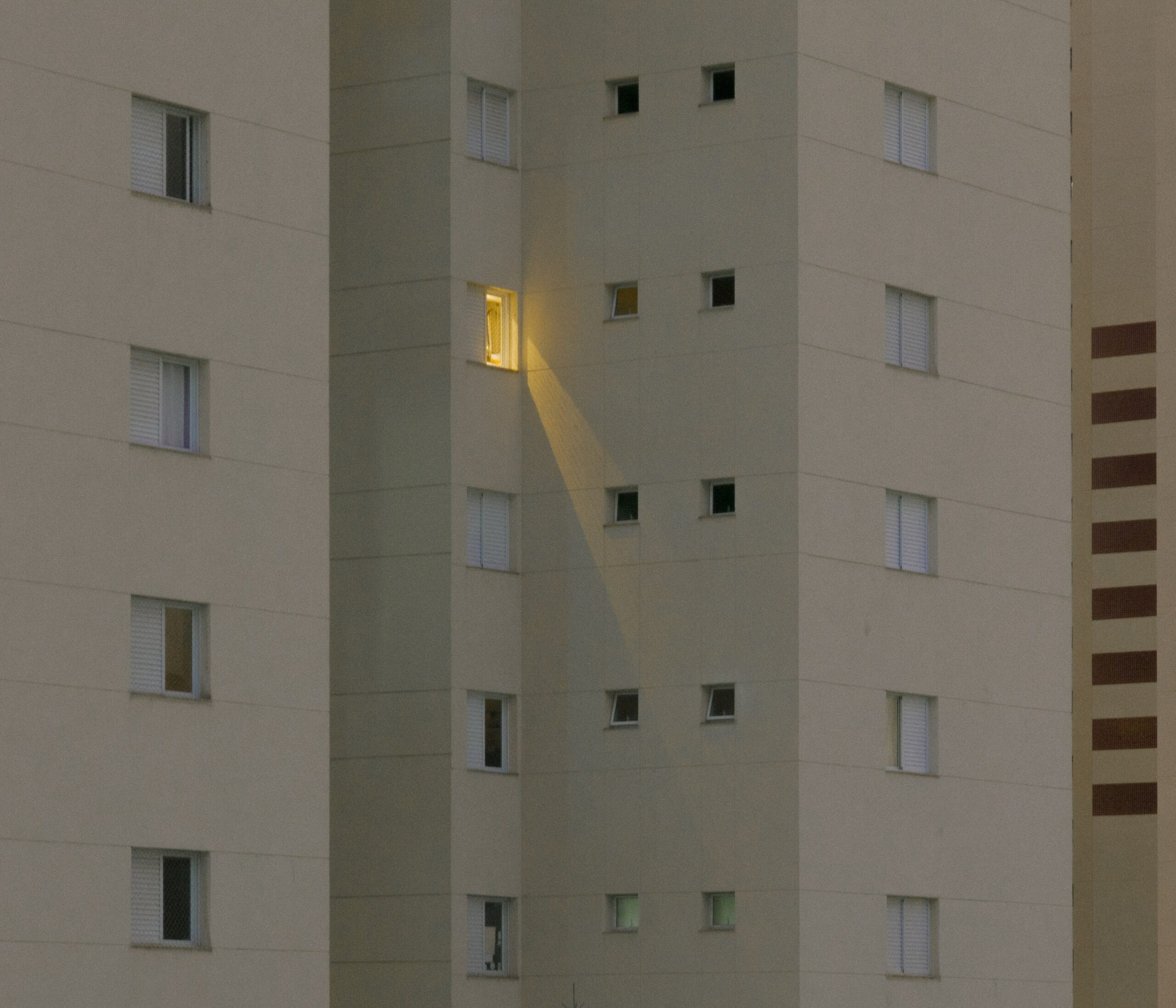 light on in an apartment