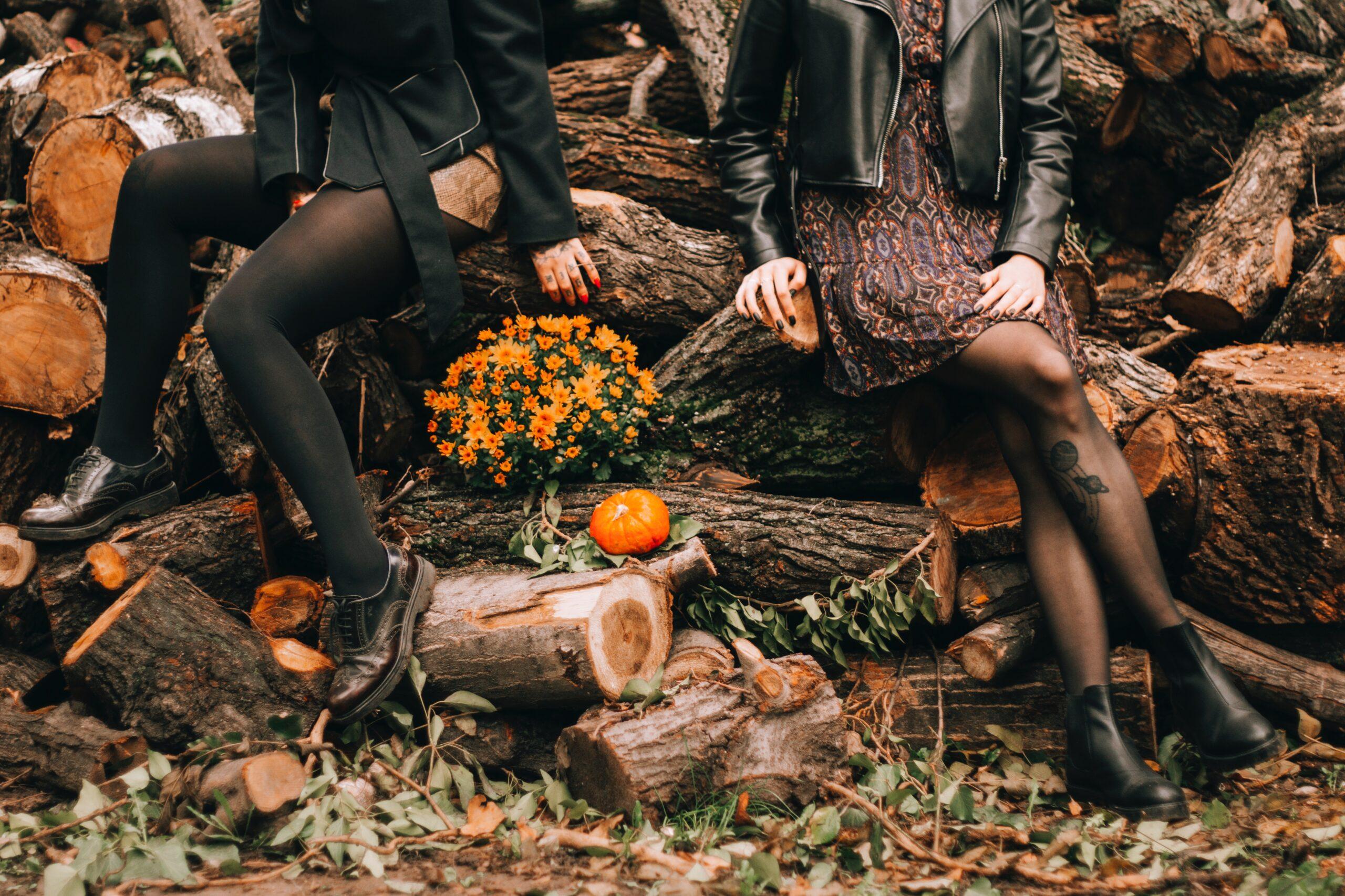 Autumn, women wearing black tights