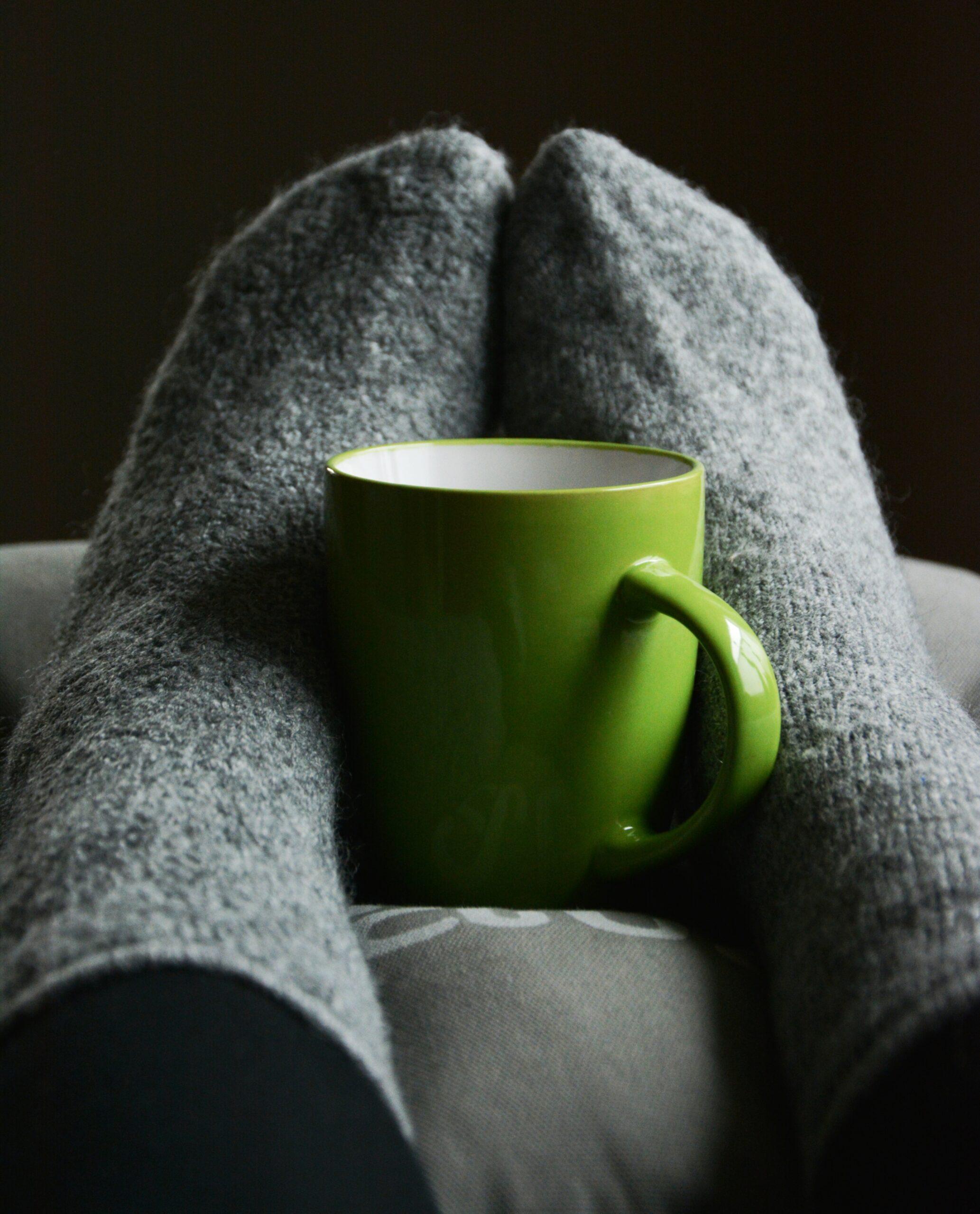 cosy socks and green mug